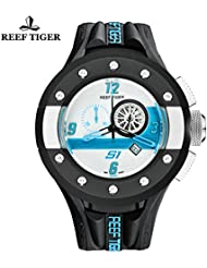 Reef Tiger Sport Watch with Chronograph Date White Dashboard Rubber Quartz Stop Watch RGA3027