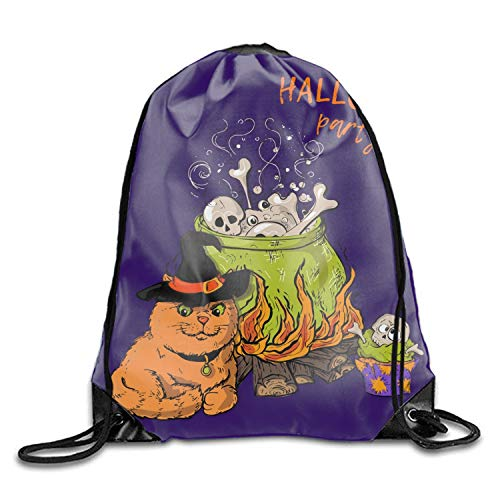 Cartoon Cute Cat In Halloween Kids Drawstring Backpack Polyester Gym Dance -