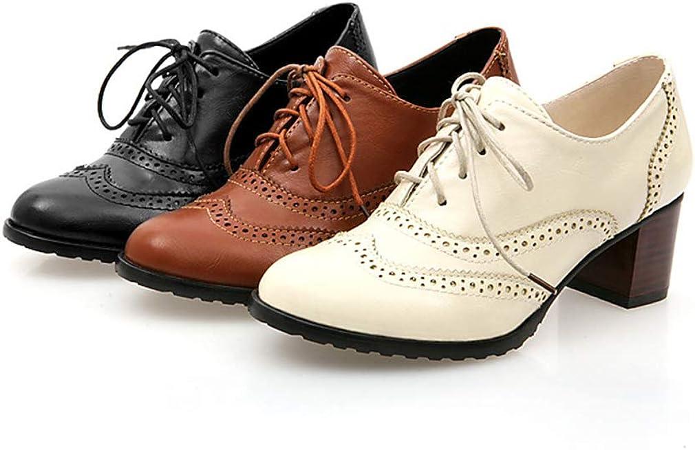 Femme Derbys T/ête Ronde Chaussures Oxford Creux Chaussures /à Lacets Sculpt/é Chaussures /à Talons Mi R/étro 3 Couleur Unie Chaussures Femme Couleurs 35-43