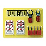 Brady USA 51181 Yellow And Black 15 1/2'' x 11 1/2'' Acrylic Padlock Board Includes (5) Safety Locks, (2) Hasps And (12) Lockout Tags, English, 27.1518 fl. oz., Plastic, 1'' x 15.5'' x 11.5''