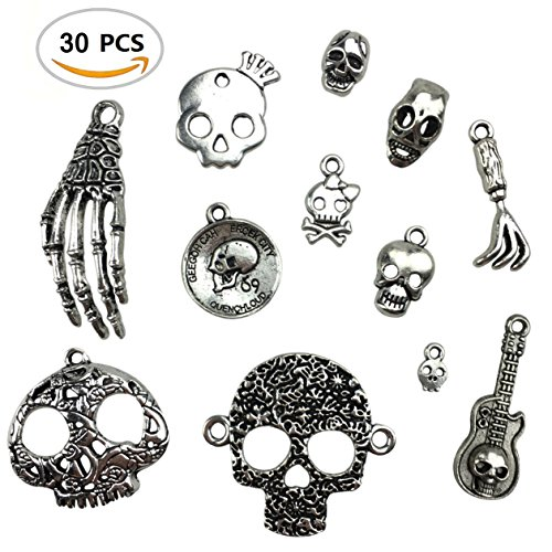 30PCS Assorted DIY Antique Skull Skeleton Punk Steampunk Charms Pendant Bulk for Jewelry Making by ZXSWEET (Charm Pirate Skull)