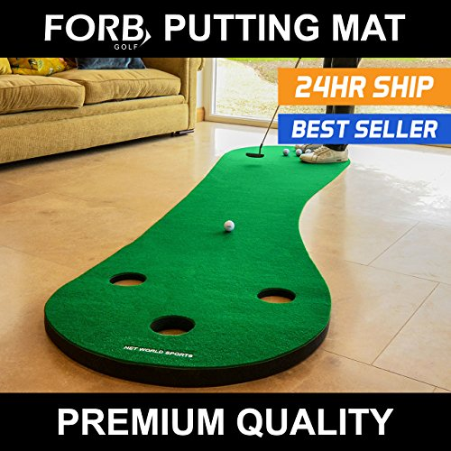 FORB Home Golf Putting Mat (10ft Long) - Improve Your Putting Stroke In...