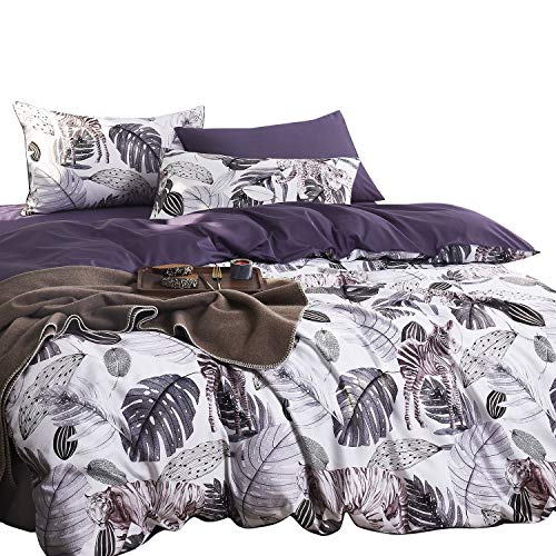 Wake In Cloud - Tropical Duvet Cover Set, 400 TC Cotton Sateen Bedding, Forest Monstera Deliciosa Tree Plant Leaves with Tiger Leopard Zebra Pattern Printed, Reversible with Purple (3pcs, Queen Size)