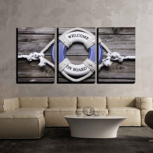 wall26 - 3 Piece Canvas Wall Art - Maritime Decoration - Life Belt on Wooden - Modern Home Decor Stretched and Framed Ready to Hang - 16