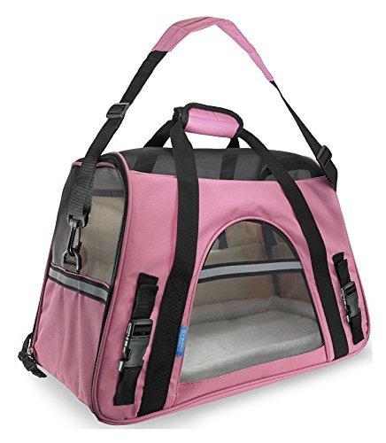Wine Duffel Rose - Pet Carrier Soft Sided Large Cat Dog Comfort Rose Wine Pink Bag Travel Approved