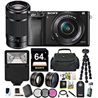 Sony Alpha a6000 24.3MP Mirrorless Camera 16-50mm & 55-210mm Zoom Lens (Black) + 64GB Accessory Bundle