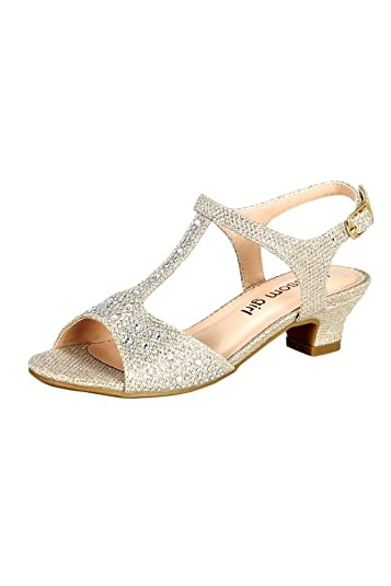 Ladies Metallic Sandals Sneakers Embellished Strap Leisure Glitter