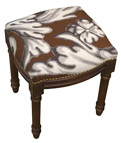Needlepoint Stool (SketchONE Wool Needlepoint Upholstered Vanity Stool, Scroll, Brown)