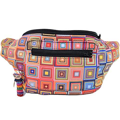 Modern Mosaic Fanny Pack, Stylish Arty Party Boho Chic Handmade w/Hidden Pocket (Gaudi Mosaic) by Santa Playa