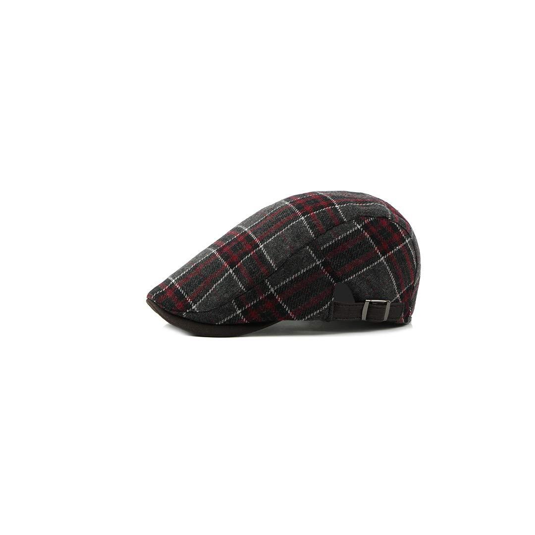 QARYYQ Woolen Beret Male Korean Fashion Cap British Style Classic Plaid Mens hat