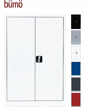 BÜMÖ Stahlschrank 120 x 92 x 42 cm in weiß inkl. 2 Fachböden ...