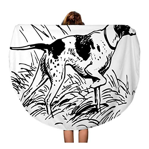 (Semtomn 60 Inches Round Beach Towel Blanket Dog Pointing Breed Hunt Pointer Point Black Honor Upland Travel Circle Circular Towels Mat Tapestry Beach Throw)