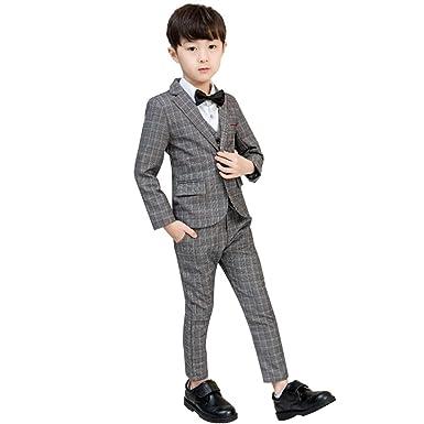 f7cbc982f4aa1 Ymgot キッズ フォーマル スーツ 男の子 紳士服 子供服 チェック柄 スーツ5点セット 卒