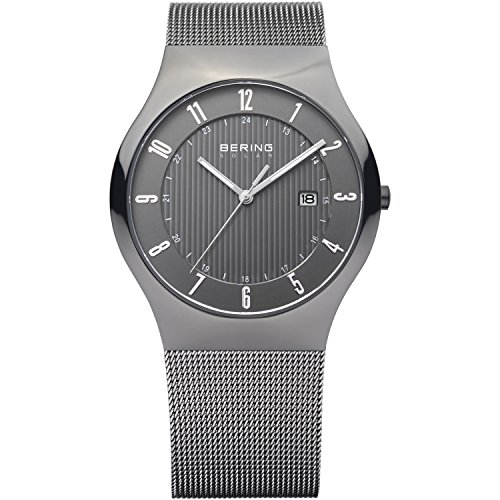 Bering Time 14640-077 Men's Solar Collection Watch with Mesh Band and scratch resistant sapphire crystal. Designed in Denmark.