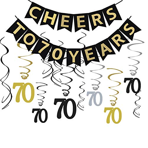 Tuoyi 70th Birthday Party Decorations KIT - Cheers to 70 Years Banner, Sparkling Celebration 70 Hanging Swirls, Perfect 70 Years Old Party Supplies 70th Anniversary Decorations (70 Years)]()