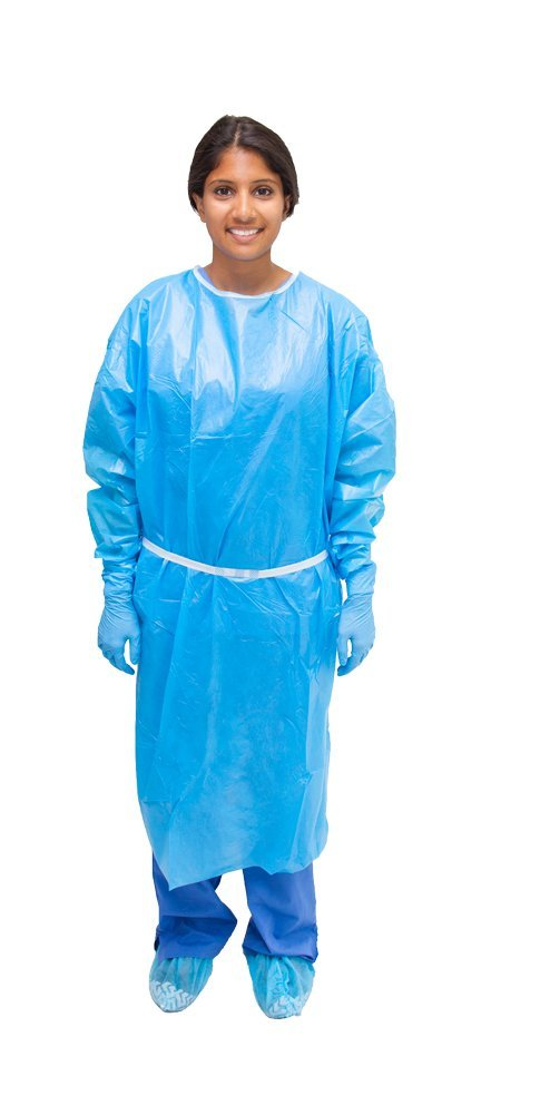 MediChoice Isolation Gown, Poly Coated, Full Back, Elastic Cuff, Tie Neck and Waist, XL, Blue, 131477885XL (Bag of 10)