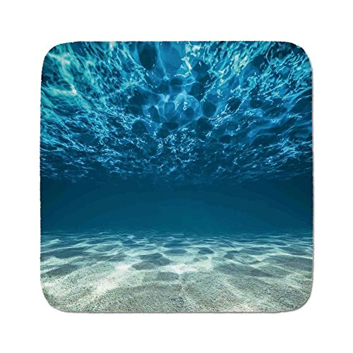 Cozy Seat Protector Pads Cushion Area Rug,Ocean Decor,Bright Gravelly Bottom and Wavy Surface Tropical Seascape Abyss Underwater Sunny Day,Easy to Use on Any Surface