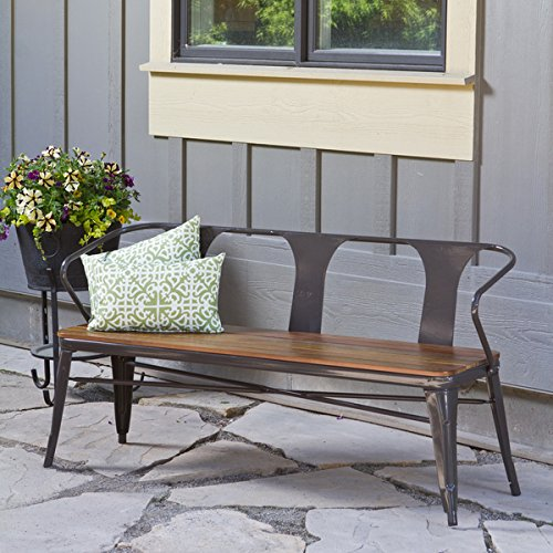 Outdoor Wooden Bench with Steel Frame Makes for a Great Addition to Your Patio Furniture by Jardin