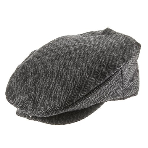 Cotton Lined Ivy Cap - Parker Herringbone Classic Ivy Newsboy Cap with Fleece Lined Interior 7 3/8