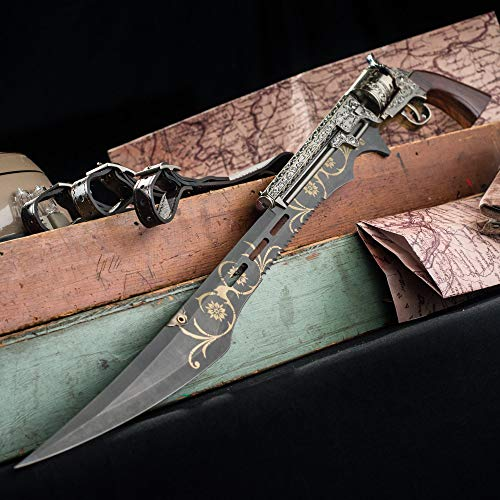 "K EXCLUSIVE Otherworld Steampunk Gun Blade Sword with Nylon Shoulder Sheath - Antique Finish, Laser-Etched and Engraved Accents, Spinning Barrel - 26"" Length"