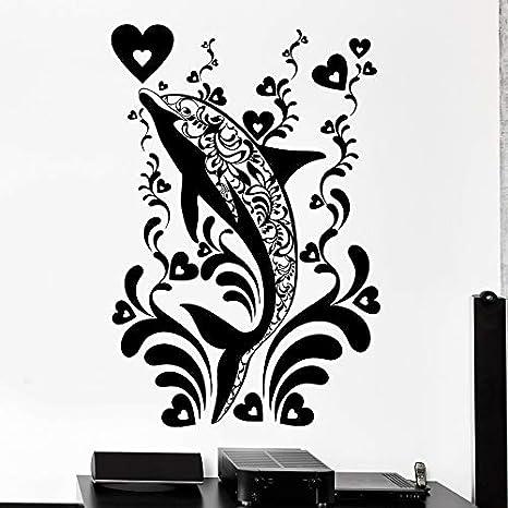 Tianpengyuanshuai Adhesivo de Pared Dolphin Estilo Marino Tema Decorativo Animal Marino Mural Vinilo Adhesivo 85X57cm