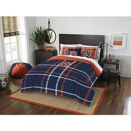 3 Piece NCAA Alabama Auburn Tigers football Full Comforter Set, Blue Orange, Sports Patterned Bedding, Featuring Team Logo, Auburn Merchandise, Team Spirit, College Football Themed, Polyester