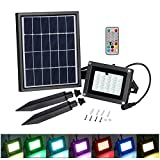 LED Solar Flood light, T-SUN 20 LEDs RGB Color Changing Outdoor Security Wall Lights Waterproof Remote Controlled Solar Spotlight for Garden, Patio, Yard, Pool, Garage