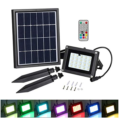LED Solar Flood light, T-SUN 20 LEDs RGB Color Changing Outdoor Security Wall Lights Waterproof Remote Controlled Solar Spotlight for Garden, Patio, Yard, Pool, Garage by T-SUN