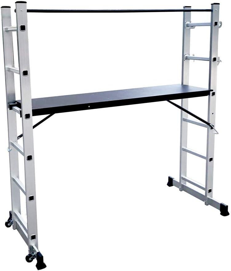 LZQ Escalera Andamio de Aluminio Multipropósito 3 en 1 - Escalera Plegable Aluminio - Plataforma de trabajo de hasta 150 kg antideslizante probado GS (EN 131)