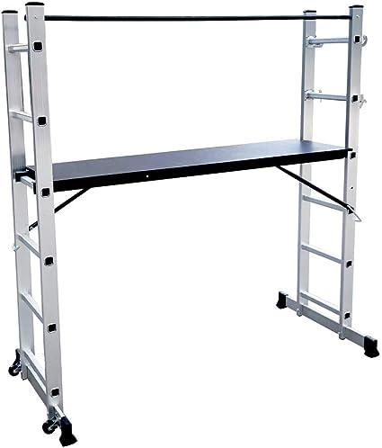 LZQ Escalera Andamio de Aluminio Multipropósito 3 en 1 - Escalera Plegable Aluminio - Plataforma de trabajo de hasta 150 kg antideslizante probado GS (EN 131): Amazon.es: Bricolaje y herramientas