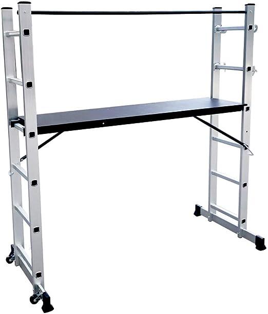LZQ Escalera Andamio de Aluminio Multipropósito 3 en 1 - Escalera ...