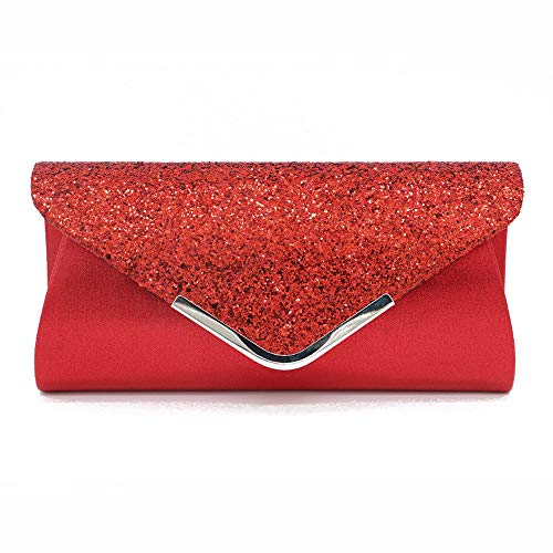 Womens Shining Envelope Clutch Purses Evening Bag Handbags Wedding Party Prom Glamour Wedding Purse (Red, - Clutch Shimmer