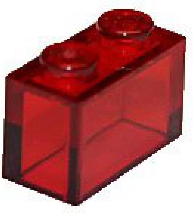 LEGO Parts and Pieces: Trans-Red (Transparent Red) 1x2 Brick x20