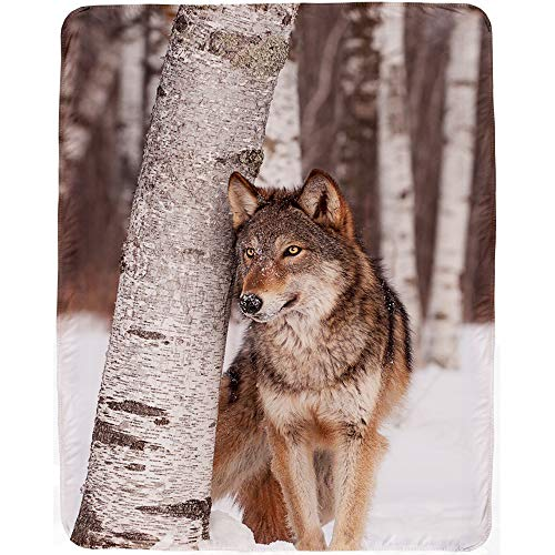 KAWAHOME Digital Printed Blanket Home Comfortable Warm Fluffy Unique Design Wolf Sherpa Blanket Decorative Gift Throw Blanket Perfect for Couch or Sofa 51×71 Inch
