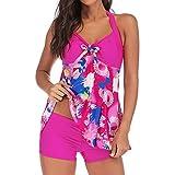 Summer Swimwear for Women,Women Plus Size Print Tankini Swimjupmsuit Swimsuit Beachwear Padded Swimwear,Women's Plus Swimwear,Hot Pink,5XL
