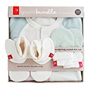 goumikids Newborn Organic Cotton Gift Set: Mitts, Booties, and Jamms Baby Gown (Drops/Aqua, Newborn)