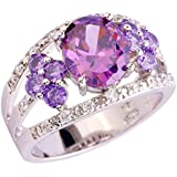 Purple Champagne Red Pink Olive Green Blue Jewelry Gemstone Silver Ring Size 10