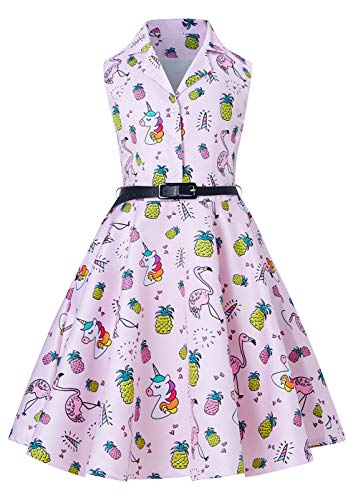 RAISEVERN Girls Flamingo Wedding Dresses Fancy Pink Pineapple Print Swing Vintage Formal Dress for Teen Girl 12-13 Years]()