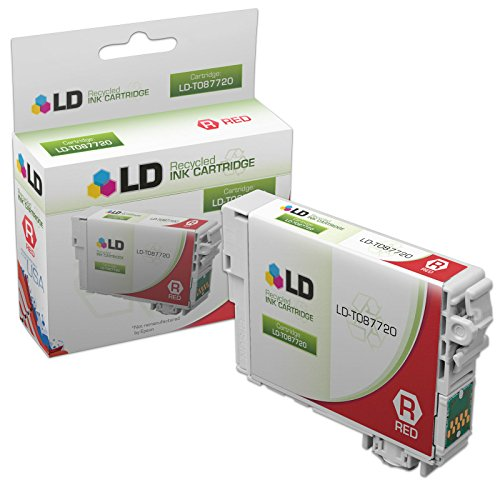 LD © Remanufactured Replacement for Epson T087720 (T0877) Red Inkjet Cartridge for use in Epson Stylus Photo R1900 Printers