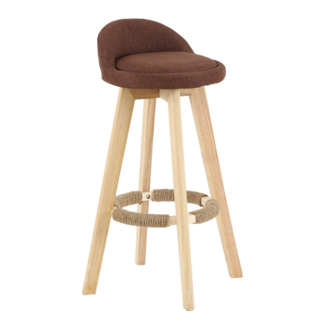 Brown Cushion Sitting 53cm Furniture Bar Stool Modern Style Bar Chair Kitchen Breakfast redating Stool Wooden Legs (Sitting Height  53 63 73 83cm)