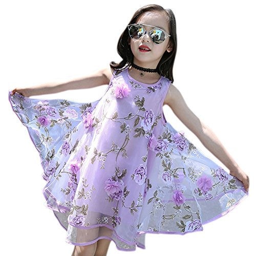 Amyove Baby Girls Princess Dress Casual Organdy Flower Sleeveless Round Collar Summer Vast Dress (Organdy Flowers)