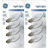 GE Lighting H&PC-65966 712395882191 GE Night Light Bulb Standard, 4 Watt, Clear 4 ea (Pack of 2), 8 Pack