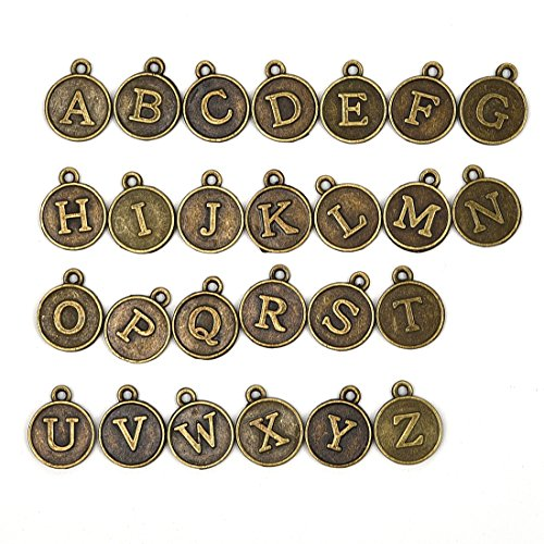 Bracelets Charms Antique - Letter 'A-Z' Antique Bronze Round Alphabet Charms Pendants Initial Personalized Disc for Jewelry Finding 17.5mm 78Pcs