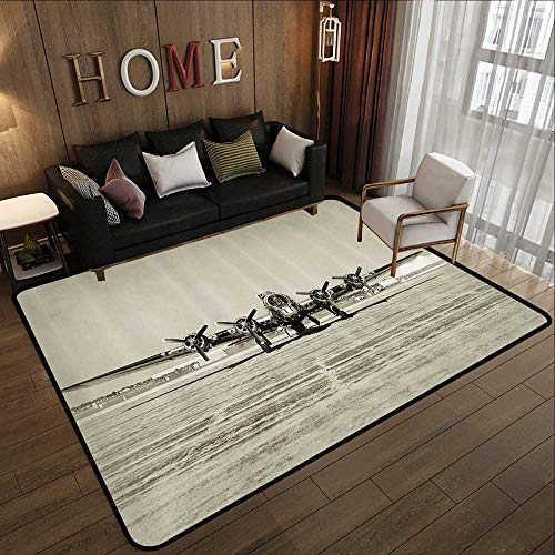 (Living Room Rugs,Airplane Decor Collection,World War II Era Heavy Bomber Front View Stained Old Photo Flying History Takeoff Aeronautics 59