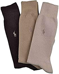 Best Shopping Polo Ralph Lauren Men Dress Socks 3 Pair One Size Assorted Brown Textured