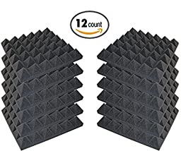 12 Pack - Acoustic Foam Sound Absorption Pyramid Studio Treatment Wall Panels, 2\