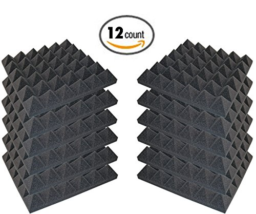 12 Pack - Acoustic Foam Sound Absorption Pyramid Studio Treatment Wall Panels, 2' X 12' X 12'