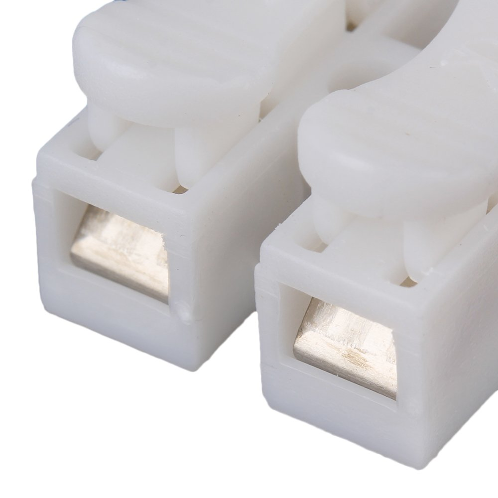 CNBTR Blanc 2 Voies CH2 Rapide Connecteur Cable Pince Bloc de Connexion Fil de Connexion de Fil Pack de 100