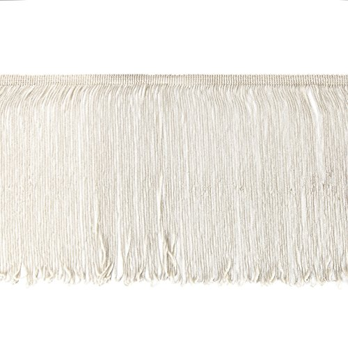Fringe Loop White - Neotrims Rayon Silky Loop Fringe. Costume Chainette Tassel Trimming, Soft Drape, 3 lengths 10, 15 & 25cms Long. Home Decoration, Garment Apparel Edge Trim, 11 Colours. 1 Yard Off White-25cms