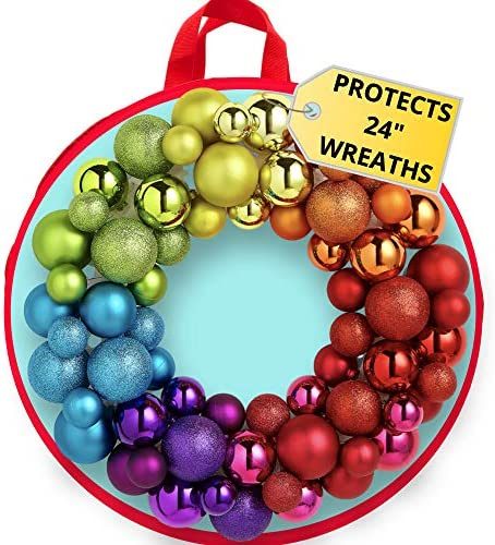 muddle armour Wreath Storage Container Bag - Water Resistant Holder with Clear Plastic Front for twenty-four Inch Wreaths - Modern Storage - Protection for Holiday and Christmas Wreaths